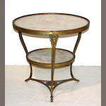 A pair of Louis XV style gilt bronze tables with marble tops