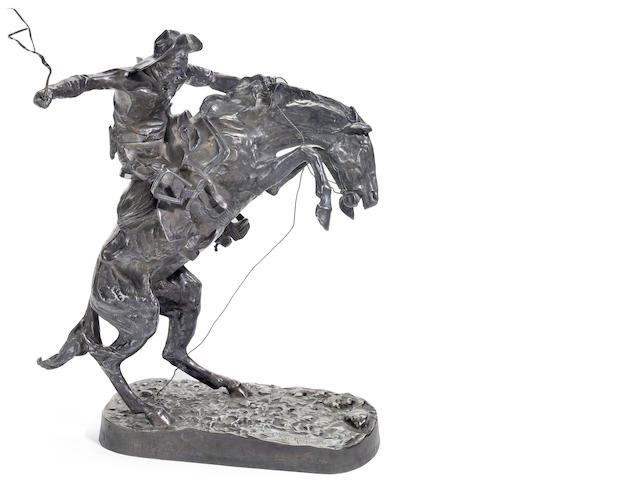 Authorized limited edition pure silver casting of Frederic Remington's The Broncho Buster