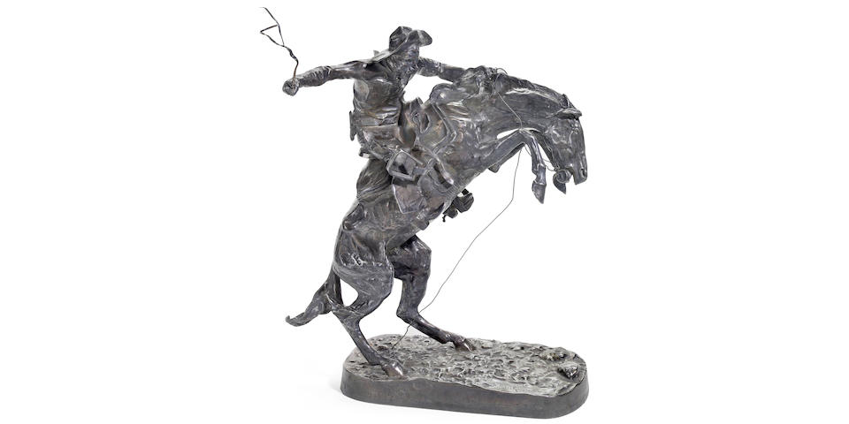 Authorized limited edition pure silver casting of Frederic Remington's The Bronco Buster