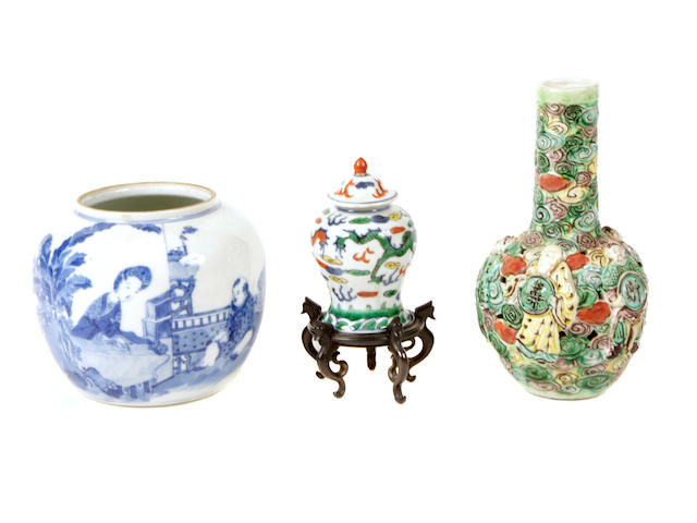 A group of Chinese porcelain miniature containers