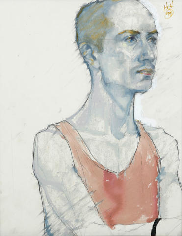 Artist Unknown Untitled (man in vest), 1999; Untitled (seated woman) (2) each 19 x 14in