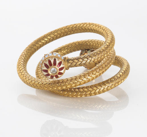 An antique diamond and enamel woven coiled bracelet,