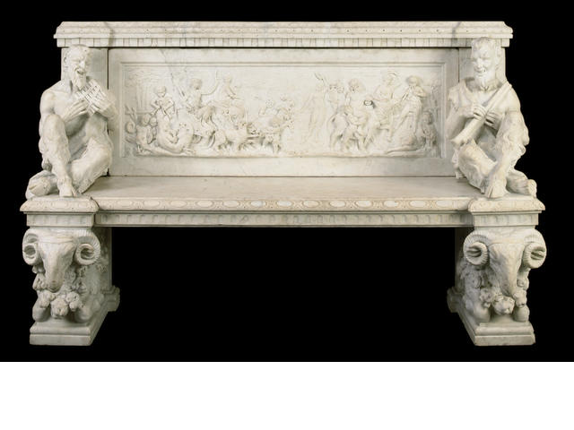 An Italian Renaissance style marble bench