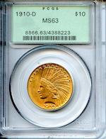 1910-D $10 MS63 PCGS