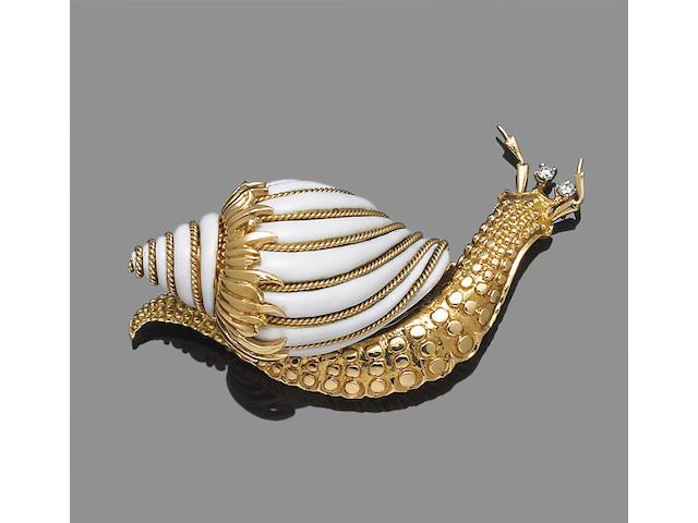 An enamel, diamond and eighteen karat gold snail brooch, Webb
