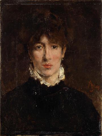 Alfred Stevens (Belgian, 1823-1906) A portrait of Sarah Bernhardt 13 x 9 3/4in (33 x 24.8cm)