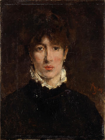(n/a) Alfred Stevens (Belgian, 1823-1906) A portrait of Sarah Bernhardt 13 x 9 3/4in (33 x 24.8cm)