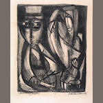 Peter Voulkos, Morning Paper Lithograph, 1949 The print was made by Voulkos when he was a student at Montana State College, Bozeman, MT in the print calass of Jessie Wilbur.  He gifted it to her and Mr. Barnaby aquired it from Ms. Wilbur in 1985