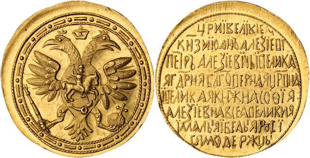 Russia, Tsarevna Sophia Alekseyevna (1682-1689), (Undated) 4 Ducats, Novodel, Genuine PCGS, Filed Rims