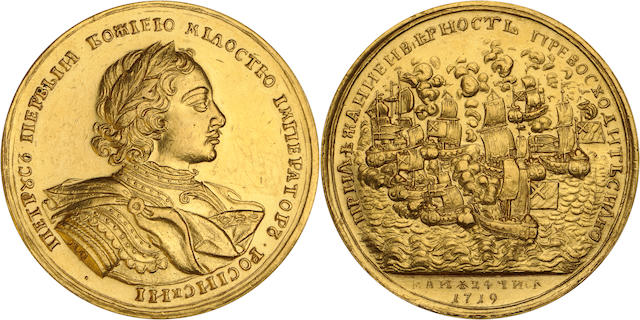 Russia, Peter I the Great, Gold Medal of 20 Ducats, 69.12 g., dated 24 May 1719