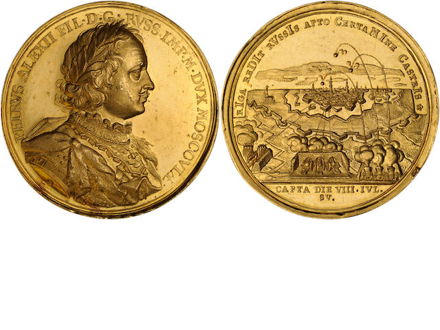 Russia, Peter I The Great (1682-1725) Gold Medal Dated July 4, 1710