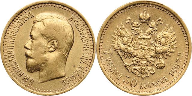 Russia, Nicholas II (1894-1917), 1897-AG 7 Roubles, 50 Kopeks, XF40 PCGS