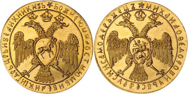 Russia, Mikhail I Fyodorovich Romanov (1613-1645), (Undated) 4 Ducats, Novodel, Genuine PCGS, Filed Rims