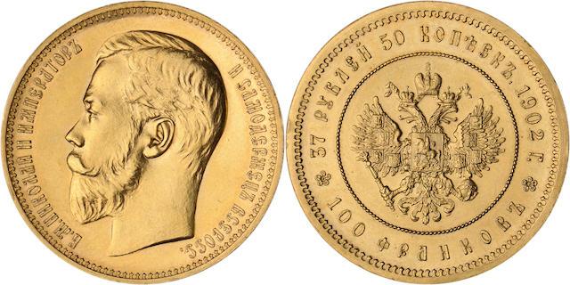Russia, Nicholas II, 1825-1855, 37 1/2 Roubles, 1902, Sev. 578, RR