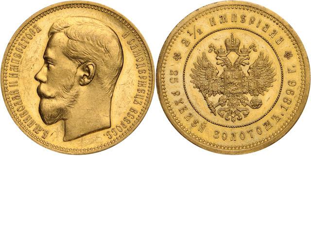 Russia, Nicholas II, 1825-1855, 25 Roubles, 1896, Sev. 555