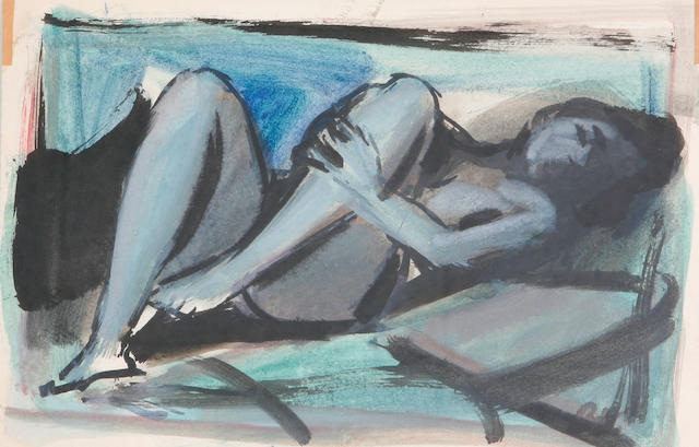 (n/a) Georges (Karpeles) Kars (Czech, 1882-1945) Reclining nude 7 11/16 x 11 5/8in