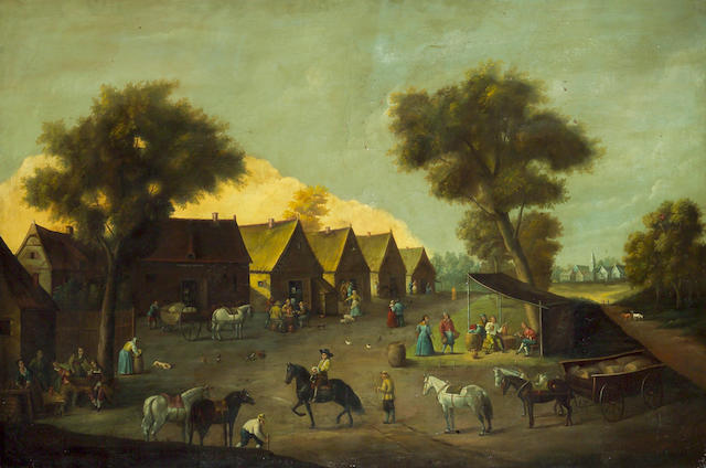 Dutch School, 18th Century A village scene with figures and livestock on the green 52 3/4 x 79 1/2in