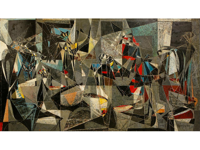 (n/a) Seymour Fogel (American, 1911-1984) Conclave, 1950 48 x 84in