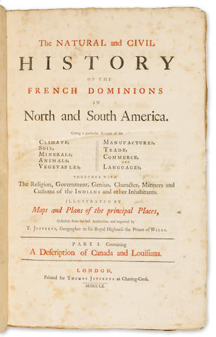 JEFFREYS, THOMAS The Natural and Civil History of the French Dominions in North and South America... 1760 London.