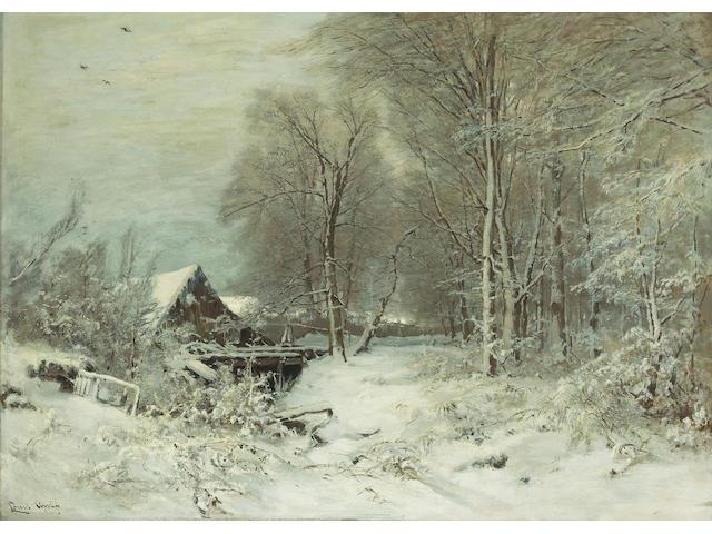 (n/a) Louis Apol (Dutch, 1850-1936) A cottage in a snowy landscape 31 1/2 x 44in (80 x 111.8cm)