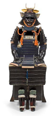 A black-lacquer armor with a Haruta-School helmet Helmet by Haruta Katsusada, Edo period, 18th century