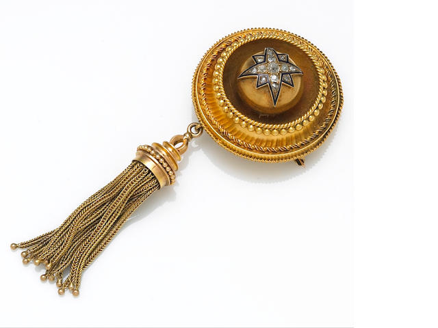 An antique diamond and enamel hair brooch,