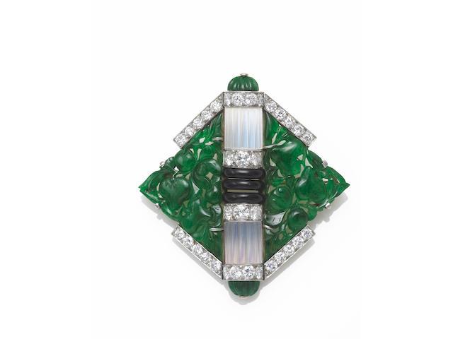 An art deco jadeite jade, moonstone, black onyx and diamond brooch, Mauboussin,