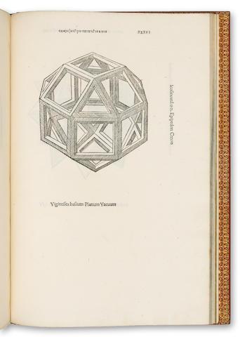 PACIOLI, LUCA. Divina Proportione. Venice, 1509. Folio.