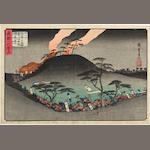 Utagawa Hiroshige (1797-1858) Mikusayama kassen (Battle at Mikusa Mountain) from the series Yoshitsune ichidai zue (Illustrated Biography of Yoshitsune)