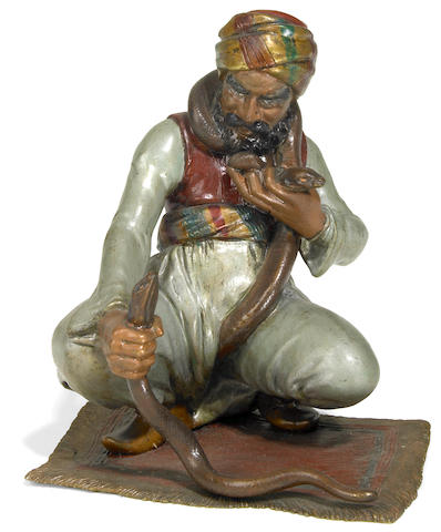 A Vienna cold painted bronze figure of a snake charmer