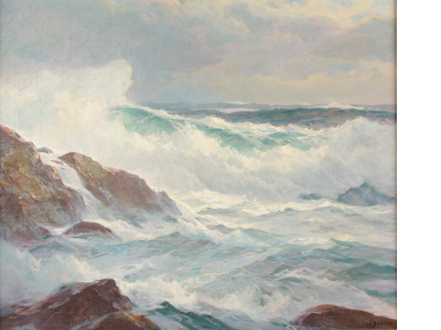 Howard Everett Smith (American, 1885-1970) Breaking waves along the coast 25 x 30in