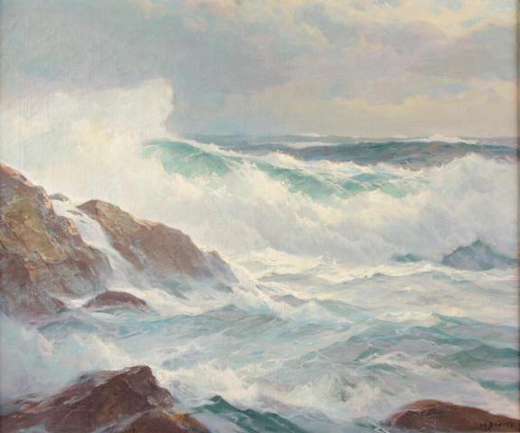 Howard Everett Smith (American, 1885-1970) Breaking waves along the coast 25 x 30in