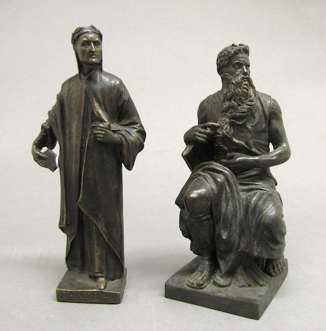 A patinated bronze figure of Dante Alighieri (c.1265-1321) and Moses  after Michelangelo di Lodovico Buonarroti Simoni (1475-1564)<br>20th century