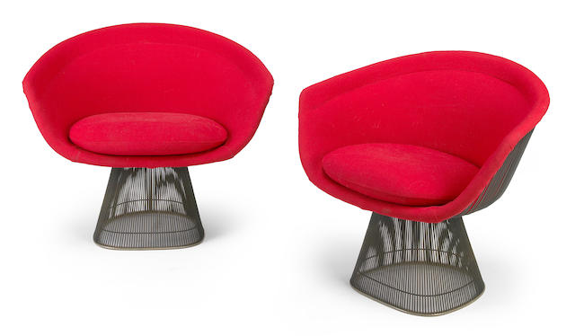 A Pair of Warren Platner upholstered nickel-plated wire lounge chairs for Knoll, designed 1966