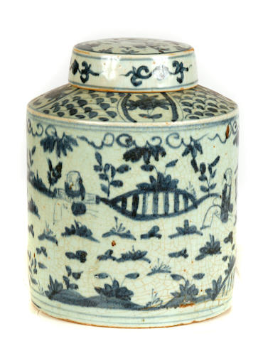 A near pair of Chinese blue and white porcelain tea caddies
