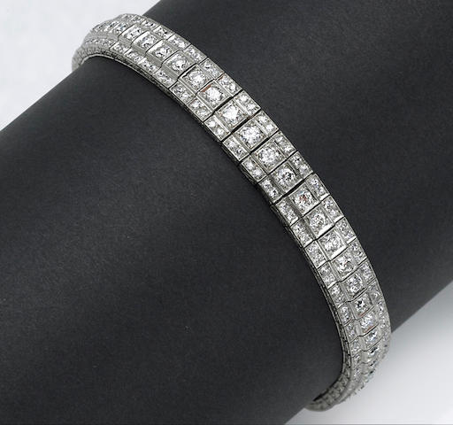 An art deco diamond bracelet, circa 1930's