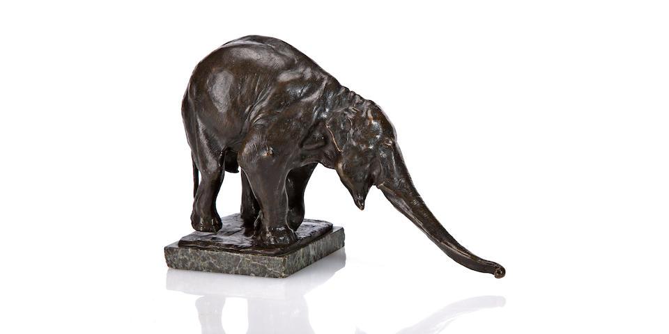 "Rembrandt Bugatti (Italian, 1884-1916) Éléphant Blanc ""Il Y Arrivera"", the petite model,  circa 1908"