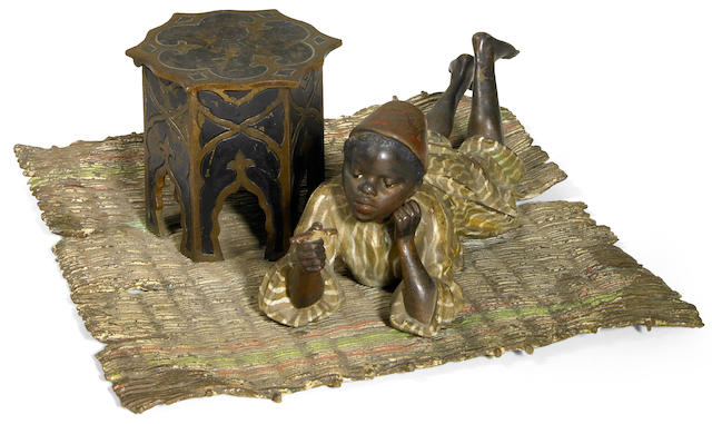 A Franz Bergman cold painted bronze figural inkwell circa 1900