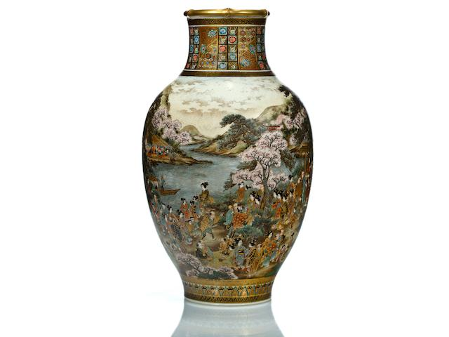 A large earthenware vase By Ryozan, Meiji period, late 19th century