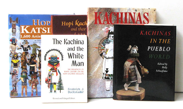 A collection of books and pamphlets related to Kachina dolls