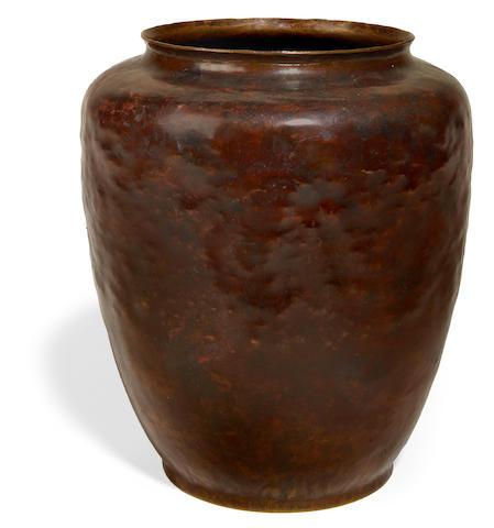 Dirk van Erp hammered copper warty vase, post-1915