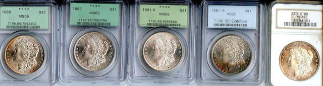 Morgan Dollars (5) 1879-S, 1881-S (2), 1885, 1886.  All PCGS MS65