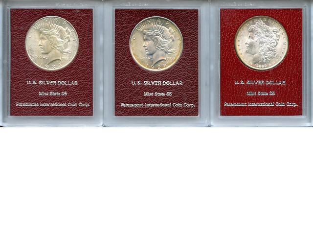 Silver Dollars in Paramount Holders (3) 1889, 1928, 1935