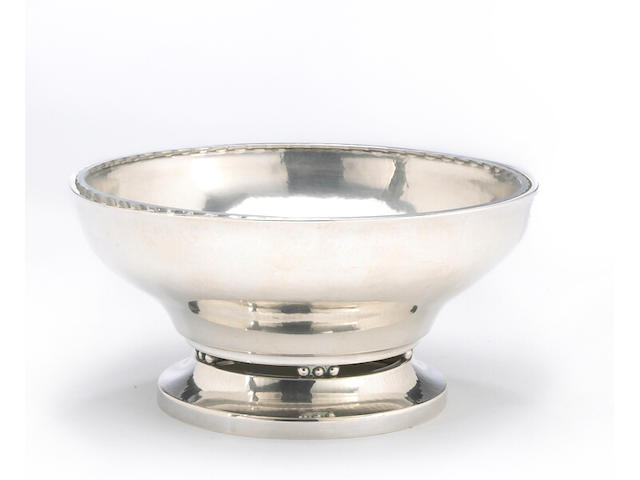 Danish Sterling Salad Bowl with Cut Glass Fitting by Georg Jensen