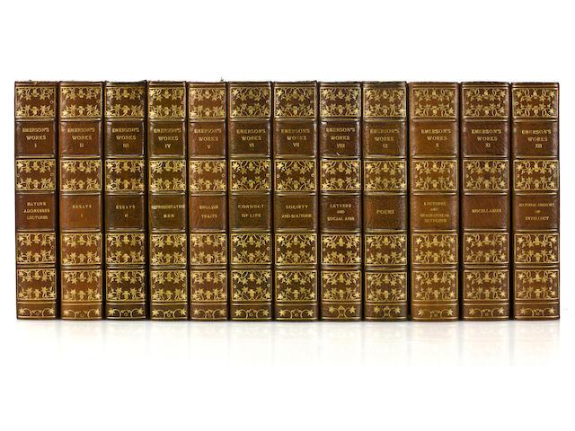 EMERSON, RALPH WALDO. Works. Autograph edition. 12 vols