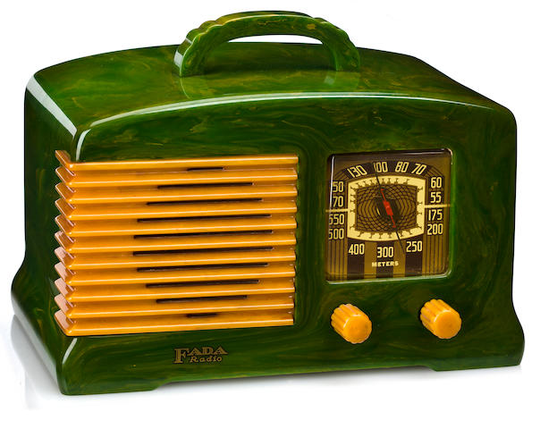 A Fada marbleized green and yellow radio<br>model L-56, 1939