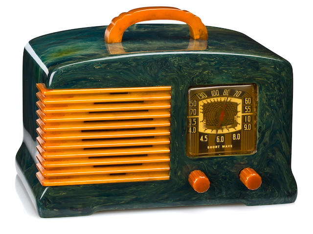 A Fada marbleized blue and yellow radio<br>model SW-57, 1939
