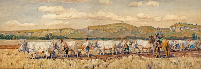 Attributed to Enrico Coleman (Italian, 1846-1911) Plowing 9 3/8 x 27 3/8in