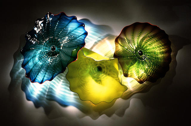 A Dale Chihuly vibrant yellow and blue persian wall installation, 1997