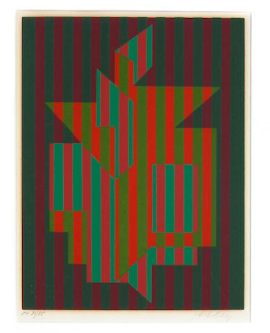 Victor Vasarely (Hungarian, 1906-1997); Untitled (green and red stripes);